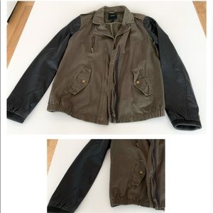 Black and green military/ moto style jacket